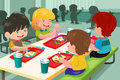 Elementary students eating lunch in cafeteria a vector illustration of Royalty Free Stock Image