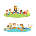 Elementary students and teacher. Children education and upbringing in the kindergarden. Cartoon detailed colorful