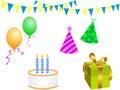 Elementi della festa di compleanno Immagini Stock