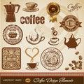 Elementi di disegno del caffè Immagini Stock Libere da Diritti
