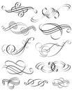 Elementos caligráficos Imágenes de archivo libres de regalías