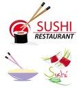 Elementos del Web site con el sushi Imágenes de archivo libres de regalías