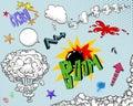 Elementos dos del cómic Imagenes de archivo