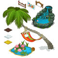 Elements of decorating landscape, island theme