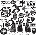Elements for designing primitive art Stock Photo