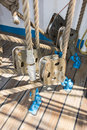 Elements of equipment of a yacht pulleys that hold and manage the sails sailing boat Stock Photos