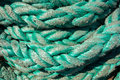 Elements of equipment of a yacht rope on sailing boat Stock Images