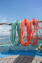 Elements of equipment of a yacht ropes on sailing boat Royalty Free Stock Images