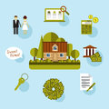 Elements of info graphic showing process getting loan saving money deposits finance control visiting the bank consultation Royalty Free Stock Photo
