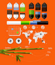 Elements of infographics with bamboo Stock Photo