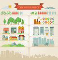 Elements for infographics about city and village Royalty Free Stock Images
