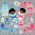 Elements for mulatto baby twins boy and girl a set of cute cartoon newborn cartoon icons scrapbooking in strips Stock Image