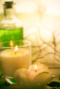 Elements spa treatments scented candles of including Stock Photos