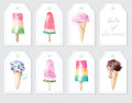Elements with watercolor ice creams and inscription Royalty Free Stock Photo