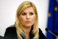 Elena udrea romanian politician speaks in a press conference in bucharest Stock Photo