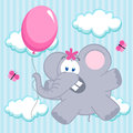 Elephant on balloon little vector illustration Stock Photos