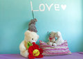 Elephant and Bears Toys in girl's room Royalty Free Stock Photo