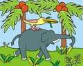 Elephant and bird the carries a with a snake humorous image Stock Photos