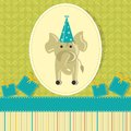 Elephant in birthday card vector illustration of with gift Royalty Free Stock Image