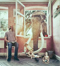 The elephant and the boy escapes Royalty Free Stock Photo