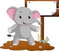 Elephant cartoon with a blank sign Royalty Free Stock Photo