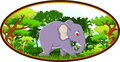 Elephant cartoon with forest background illustration of Royalty Free Stock Photos