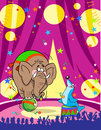 Elephant and a circus sea calf Royalty Free Stock Images