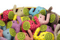 Elephant cloth dolls with key chain Stock Photo