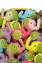 Elephant cloth dolls with key chain Royalty Free Stock Photos