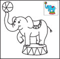 Elephant coloring on a white background Stock Images
