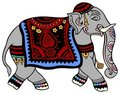 Elephant dressed for a party Royalty Free Stock Photography