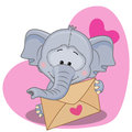 Elephant with envelope Royalty Free Stock Photo