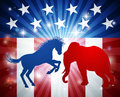Elephant Fighting Donkey Election Concept Royalty Free Stock Photo