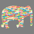 Elephant figurine made up of words on a business topic this is file eps format Stock Photos
