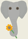 Elephant with flower an holding a in its trunk vector available Stock Images