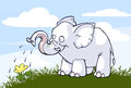 Elephant and flower illustration of a kind watering a Royalty Free Stock Image