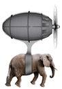 Elephant Flying Machine Isolated Royalty Free Stock Photo
