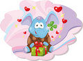 Elephant with gift Stock Photo