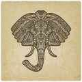 Elephant hand drawn pattern old background