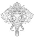 Elephant head doodle on white vector sketch. Royalty Free Stock Photo
