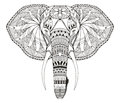 Elephant head zentangle stylized, vector, illustration, freehand Royalty Free Stock Photo