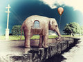 Elephant house on the road as a cracked concept photo and hand drawing elements combined Royalty Free Stock Photography