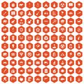 100 elephant icons hexagon orange