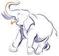 Elephant isolated brush stroke image Royalty Free Stock Photography
