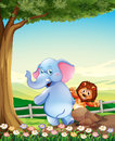 An elephant and a lion at the hilltop near the tree illustration of Royalty Free Stock Photo