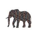 Elephant mammal color silhouette animal