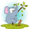 Elephant and mouse vector illustration Royalty Free Stock Photos