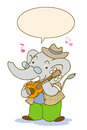 Elephant music writing playing acoustic guitar happy Royalty Free Stock Images