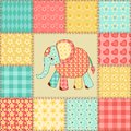 Elephant patchwork pattern vintage seamless cartoon background Royalty Free Stock Images