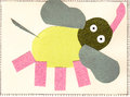 Elephant pink children post card Stock Photo